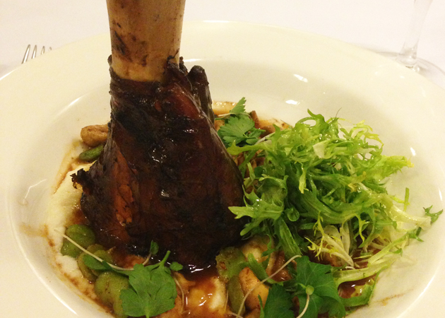 Braised veal shank, truffled soft polenta, broad beans, mushrooms, lemon and cinnamon jus