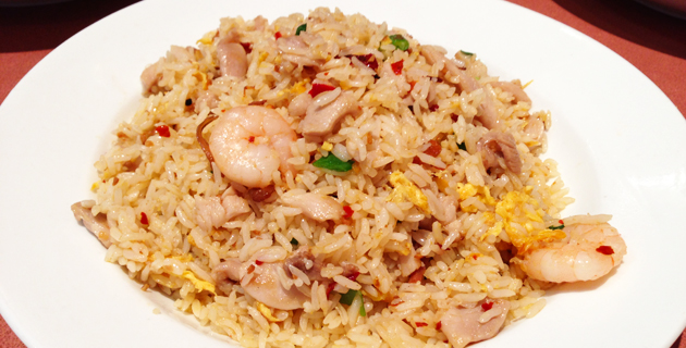 XO sauce prawn and shredded chicken fried rice, $9.80 with tea or coffee