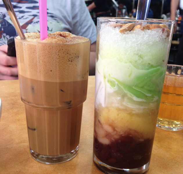 Vietnamese iced coffee and a three colour drink