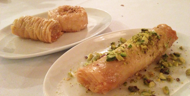 Baklava ($6) and Znoud El Sit (Filo pastry filled with semolina custard and dipped in orange blossom syrup, $4 each)