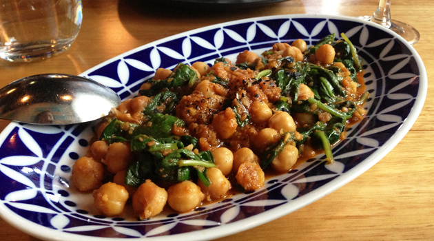 Espinacas Con Garbanzos (Spinach & Chickpeas with Garlic, Cumin, Paprika & Sherry Vinegar), $14.50
