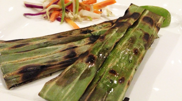 Grilled Otak-Otak (spicy Spanish Mackerel fish mousse), 2 per serve, $6