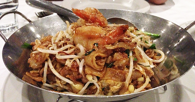 Penang Char Kuey Teow (stir fried rice noodles with prawns, chicken, fishcake, bean sprouts and egg), $16