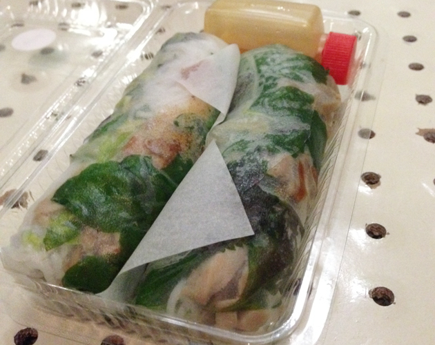 Roast duck and banana flower rice paper rolls