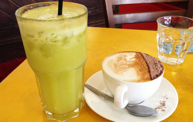 Celery and apple juice, and a cappucino