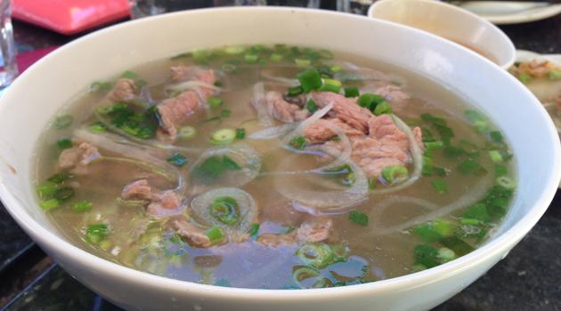 Rare beef noodle soup, $11.60