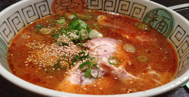 Ramen in spicy hot flavoured soup with roast pork, egg and shallots, $13.50
