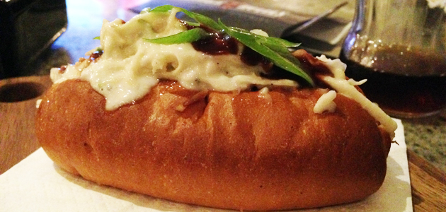 Sticky duck hot dog with apple coleslaw and cherry hoi sin sauce, $6