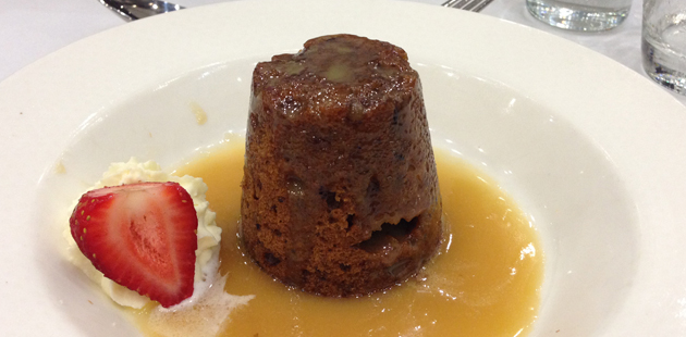 Date and pecan pudding with butterscotch sauce