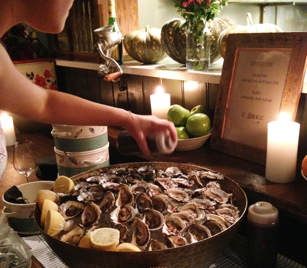 Freshly shucked oysters, served with lemon and merlot mignonette