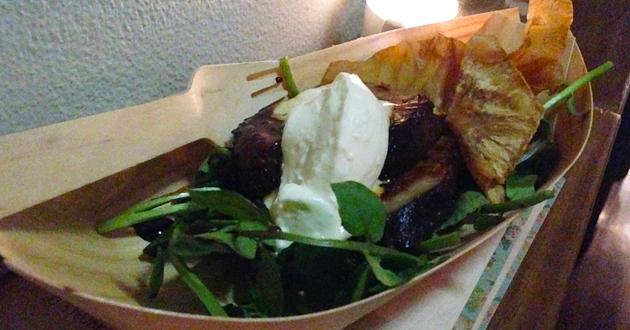 Maple and cider beef brisket with celeriac crisp and horseradish cream