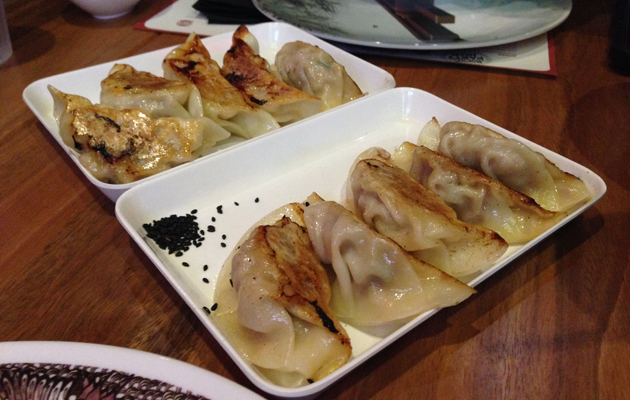 Grilled Pork and Grilled Duck Gyozas, $8 per serve