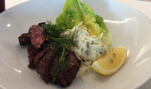 Butcher's steak with celeriac remoulade, $24