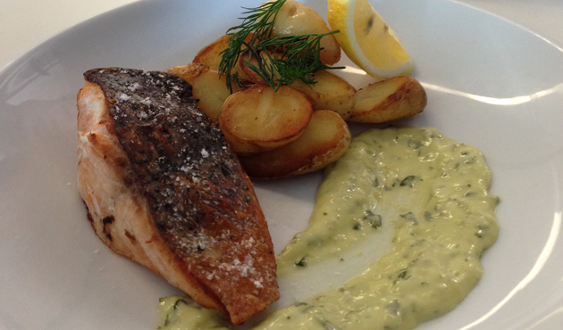 Roasted salmon with classic tartare and rosemary kipfler, $22