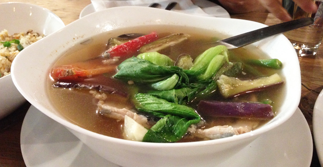 Sinigang Na Bangus Fillet Sa Miso (Milkfish fillet in soy bean broth with vegetables), $19