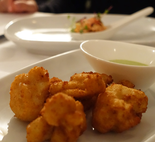 Chef's appetisers - deep fried cauliflower with aioli