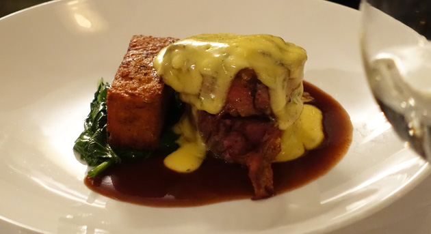 Beef filet mignon with caramelised onion, potato rosti and wilted spinach, red wine jus, bearnaise, $41