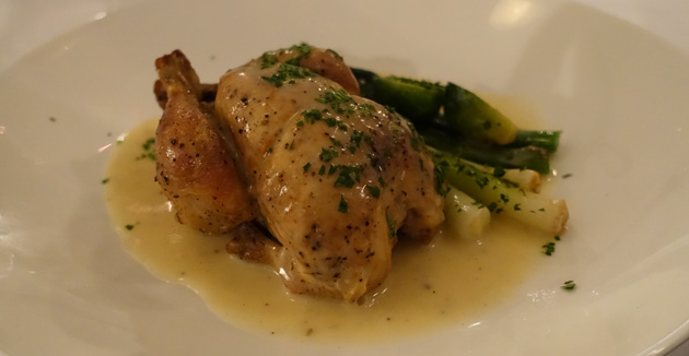 "Whole roasted French style ""Poussin"" spatchcock with buttered pencil leeks, light peppercorn cream, $41"