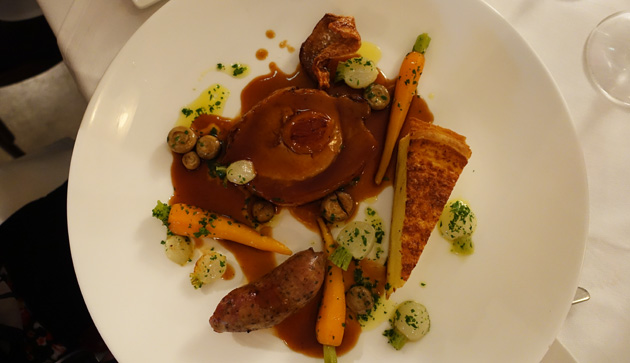 Loin of pork filled with apricots with Toulouse sausage, parsnip pie, baby turnips, muscat jus, $41