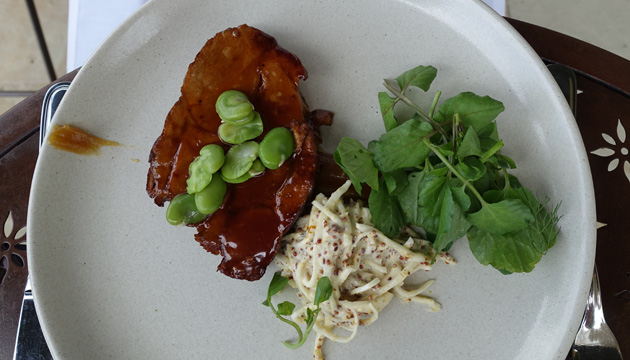 Slow cooked Berkshire Pork with celeriac and mustard remoulade, caramelised apple puree, $38