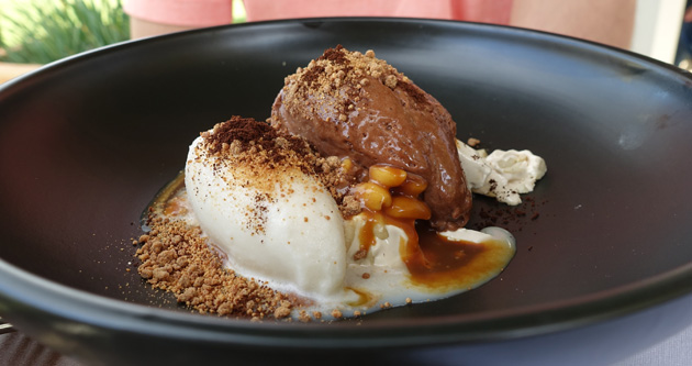 Chocolate Mousse, Milk Sorbet, nougat, salted peanut caramel, coffee, 14.00