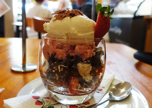 Strawberry Coconut Rough (Fresh strawberries, crushed nuts, unforgettable meringue crunch, coconut and strawberry ice-cream), $8.50
