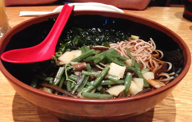 Sansai Soba soup noodles with edible wild plants, $12