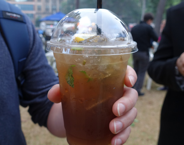 Lemon, ginger and mint ice tea from Span Thai, $5