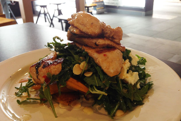 Honey roasted pumpkin chicken salad, $11