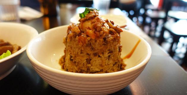Baodao sticky rice with pork sauce, $6.60