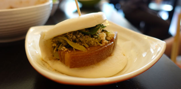 Braised pork belly bun with pickled mustard, coriander and crushed peanuts, $4.50