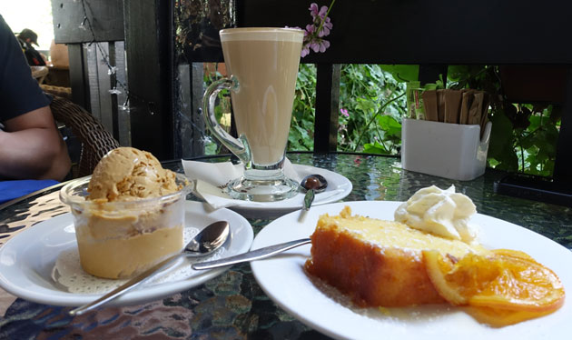 Latte ($5), Burnt caramel ice-cream ($5) and orange cake ($5)