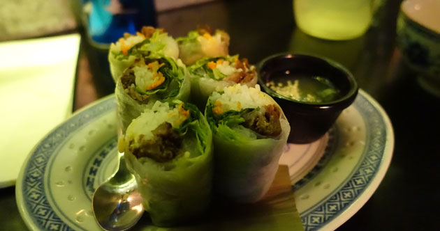 Grilled lemongrass pork summer rolls with green chilli, $9.50