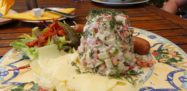 Polish Spring Salad (Selected fresh vegetables and fruit finely diced, with whole egg mayonnaise and fresh dill, served with Vienna sausage and cheese, bread roll and butter), $19.90
