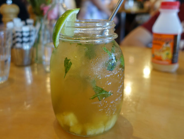 Oh So Mojo Iced Tea (Lemongrass, spearmint, goji berries, papaya, pineapple, apple, rosebuds), $5.75