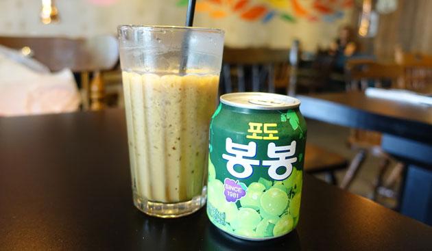 Korean Favourite iced coffee, $3.50 and Korean Grape Soft Drink, $3