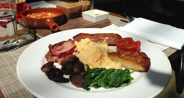 Establishment Breakfast (Choice of eggs, Shultz bacon, pork sausage, spicy baked beans, spinach, roast tomato, mushroom and potato rosti), normally $24.50