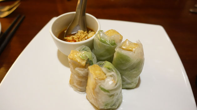 Vegetarian Vietnamese Rolls (Soft rice paper rolls wrapped with Vietnamese herbs), $12