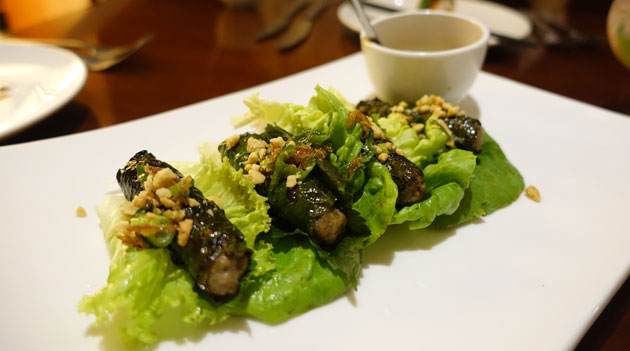 Vine beef (Seasoned tenderloin wrapped in chargrilled vine leaves and topped with crushed peanuts), $18