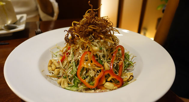 Banana blossom salad (Banana blossom, roasted peanuts and herbs in lemon dressing), $22