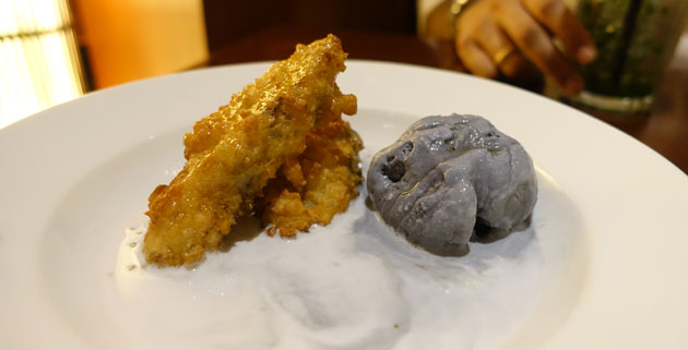 Banana fritter (Sesame banana fritters served with ice cream & coconut sago), $13