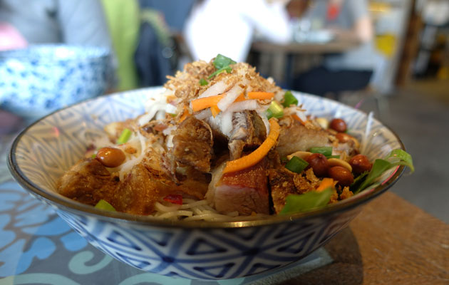 """To Bun"" with Roast Pork & Crackling (Vermicelli noodles served with & traditional salad mix & fresh herbs), $14"