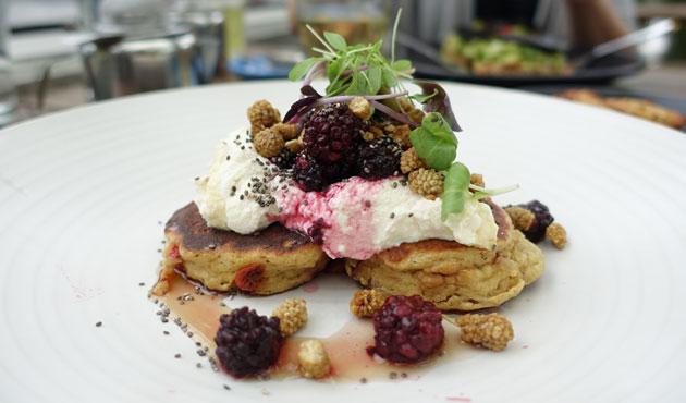 Ricotta and goji buckwheat hotcakes with organic quark, pure maple syrup, blackberries, chia, $16.50