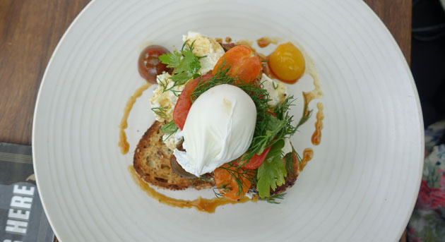 Summer Bruschetta with heirloom tomatoes, whipped ricotta salata, herbs and vincotto with poached egg, $16