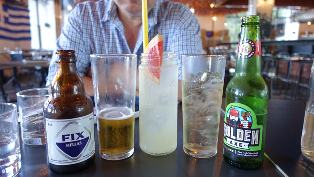 House-made grapefruit & lavender soda, $6.50 Fix pale lager (from Athens), $10 Golden Axe cider, $10