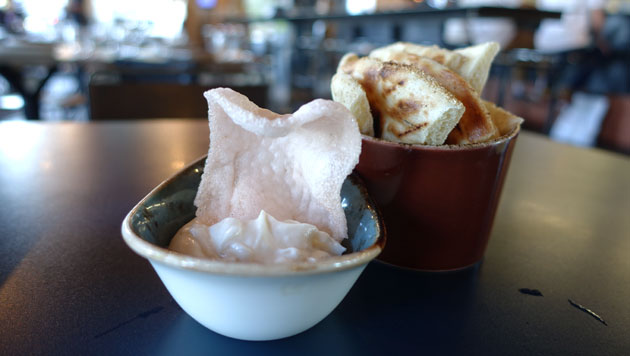 Taramosalata dip with prawn crackers, $9.50