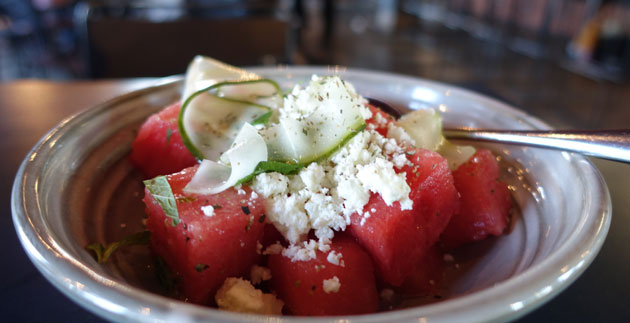Karpouzi salad (Watermelon, pickled cucumber, feta, mint), $13.50