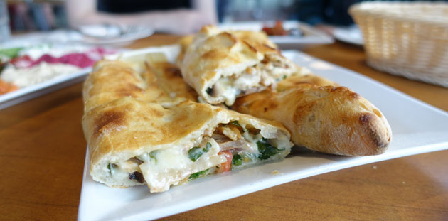 Gourmet Chicken Pide (Chicken, spinach, mushroom, onion, tomato, cheese & parsley), $14.50