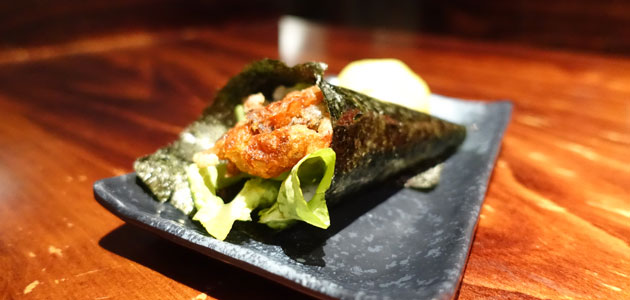 Soft shell crab hand roll, $4.30