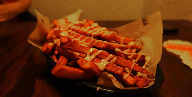 Sweet potato fries drizzled with chilli aioli, $7